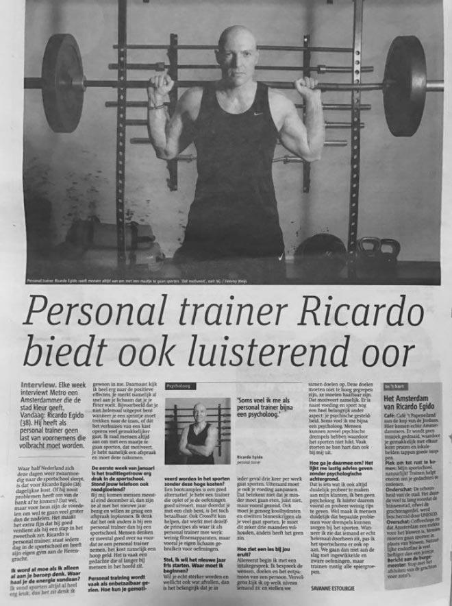 Personal Trainer Amsterdam Ricardo Egido in Metro